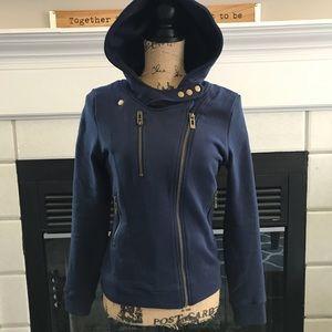 Tops - Navy a symmetrical zip hoodie